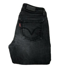LADIES LEVIS 572 JEANS W 27 L 34 BLACK DENIM BOOTCUT FIT (583)