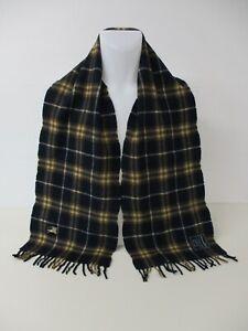 "BURBERRY SCARF, 100% Wool, Navy Blue, Brown, Beige Classic Nova Check, 63"" x 10"""