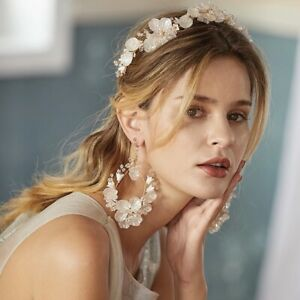 Ceramic Flower Crown with Crystals, Diamanté's and Pearls - Bridal Accessory
