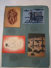 4 VINTAGE GREETING CARDS - NO. 5510 - NO. 5523 - NO. 5524 - NO. 5522  - TUB Q