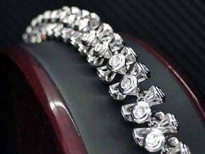 MENS UNIQUE DIAMOND BRACELET 14K WHITE GOLD ROUND BRILLIANT CUT BEZEL SET 9.11CT