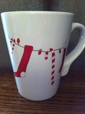 California Pantry White Red Christmas Stocking Candy Cane MUG Julie Scott 4 1/4