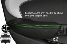 Puntada verde 2X Fundas de puerta trasera de reposabrazos cuero adapta BMW Mini Cooper 14-17 F55