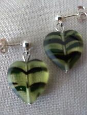 Earrings / Heart Shaped Stones Bead / Black and Yellow ~ Green / Jewelry