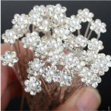 20pcs Hot Bridesmaid Crystal Hair Clips Pins Wedding Bridal Pearl Flower