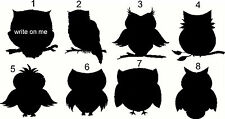 Owl Chalkboard Vinyl  Wine Glass Jar Labels  Qty of 8 Your Choice of which ones