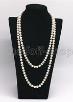 Genuine 7-8MM Natural White Freshwater Cultured Pearl Necklace 32'' Long