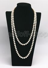 Genuine 7-8MM Natural White Freshwater Cultured Pearl Necklace 36'' Long