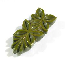 Vintage Bakelite Pin Brooch Clip deeply carved geometric floral pickle green