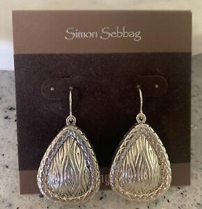 SIMON SEBBAG STERLING Silver Teardrop Texture EARRINGS NWOT