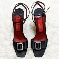 Valentino Couture Women's Size 40 Black Red Silver Rhinestone Buckle Heel