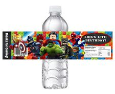 10 LEGO SUPERHEROES CUSTOM BIRTHDAY PARTY FAVORS WATER BOTTLE LABELS WRAPPERS