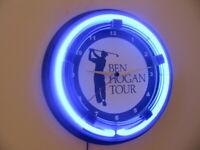 Ben Hogan Tour Golf Clubhouse Bar Man Cave Neon Wall Clock Sign