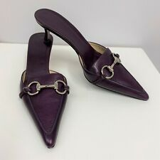 Gucci Leather Mules Shoes Plum Pointy Silver Tone Metal Bits 7 1/2 B