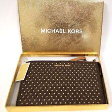 NEW MICHAEL KORS BROWN PERFORATED PVC+GOLD TOP ZIP,MK,CLUTCH,WRISTLET,WALLET+BOX