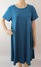 XL 1X Large LuLaRoe Carly Dress Dark Teal Heather Charcoal Poly Cotton Rayon 268
