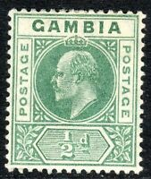 Gambia 1902 green 1/2d crown CA mint SG45