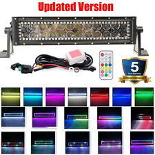 "13.5"" inch Off road Led Work Light Bar w/ RGB Halo MultiColor Change Chasing 12V"