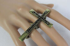 Metal Elastic Band Black Rhinestone Church Women Antique Gold Cross Ring Fashion