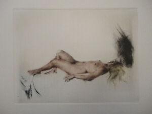Radierung Kupferdruck CARL JOSEF BAUER * Liegender Akt * Art Deco Frauenakt