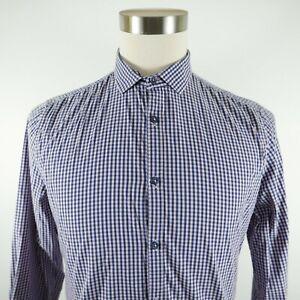 Marcs Mens Stretch Slim Fit LS Button Down Pink Navy Checkered Plaid Shirt Small