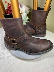 ASTON GREY Landon Harness Brown Soft Leather Buckle Boots Men's Size US 11.5/12