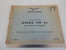 MANUALE ORIGINALE CATALOGO PARTI DI RICAMBIO 1962 MOTO GUZZI AIACE 110 cc