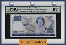 "TT PK 172b 1985-89 NEW ZEALAND 10 DOLLARS ""QUEEN ELIZABETH II"" PMG 67 EPQ SUPERB"