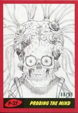 Mars Attacks The Revenge Red [99] Pencil Art Base Card P-37 Probing the Mind