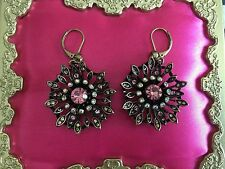 Betsey Johnson Burnished Bronze Pink Crystal AB Flower Earrings VERY RARE