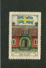 Vintage Poster Stamp Label SVENSKA FLAGGANS DAG 1931 Sweden Flag Day