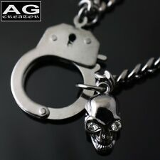 "Handcuff with skull dark gray fashion pendant 17"" chain necklace US SELLER"