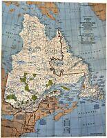⫸ 1980-5 Quebec / Newfoundland Canada -  National Geographic Map School