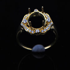 8x10mm Oval Cut Solid 14K Yellow Gold Semi Mount Natural Diamond Ring