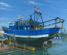 "NEW ORIGINAL RICHARD HARPUM M.A (Camb) ""Fishing Boat Essaouira Morocco"" PAINTING"