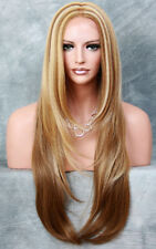 "EX Long 32"" Center Mono Straight Lace Front Wig HEAT SAFE Blonde mix ROG 2216"