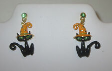 Black Cat Earrings Witch Hat Halloween Green Crystal Eyes Pierced Gold Tone New
