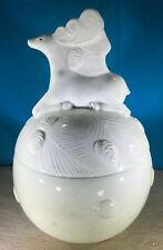 "Winter White by Woolrich Cookie Jar Deer Lid Embossed Pine Snow 13"" Tall Discont"