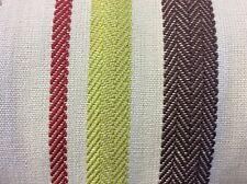 "10m VOYAGE ""Skyla Ruby"" 100% Cotton Stripe Fabric Curtains FREE POSTAGE"