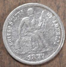 1877 Seated Liberty Silver Dime, Fine condition, d487