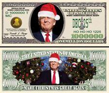 Santa Trump Million Dollar Bill Fake Play Funny Money Novelty Note + FREE SLEEVE