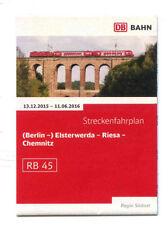 Fahrplan / Streckenfahrplan RB 45 (Berlin-) Elsterwerda Riesa Chemnitz 2015 / 16