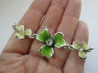 Vintage Signed Solvar Silver Plated Glass Green Enamel Irish Shamrock Bracelet