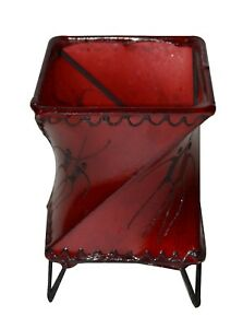 Votive Candle Holders Goat Skin Moroccan Henna Decorated Table Top Small Red