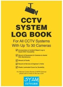 CCTV System Log Book Suitable for up to 30 Cameras - Syam CCTV/LB30