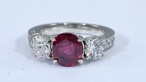 2.69 ct NATURAL DIAMOND oval RUBY three stone ring SOLID PLATINUM (VIDEO)