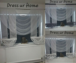 Novelty white net curtain with swags and panel azur with cristals firanki