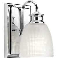 Lucky Collection 1-Light Polished Chrome Bath Sconce with Double Prismatic Frost