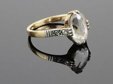 Art Deco 2.1CT White Topaz 14K Yellow and White Gold Ring, 2.6g, size 6