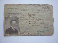 carte du combattant d'un poilu d' Auxerre